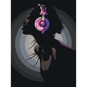 Девушка в ярких наушниках Раскраска картина по номерам на холсте с неоновыми красками AAAA-RS011-60x80