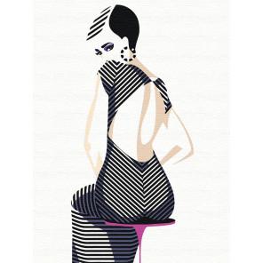 Девушка в полосатом платье Раскраска картина по номерам на холсте с неоновыми красками AAAA-RS046-60x80