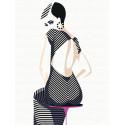 Девушка в полосатом платье Раскраска картина по номерам на холсте с неоновыми красками AAAA-RS046-75x100