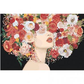 Девушка с пышным красным букетом на голове Раскраска картина по номерам на холсте