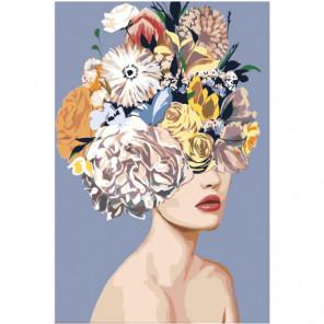 Девушка со светлым букетом на голове Раскраска картина по номерам на холсте