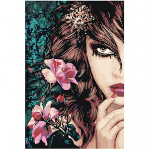Взгляд девушки шатенки Раскраска картина по номерам на холсте