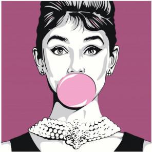 Одри Хепберн с жвачкой Раскраска картина по номерам на холсте