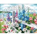 Люпины у ограды Раскраска по номерам акриловыми красками на холсте Hobbart