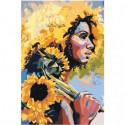 Девушка с подсолнухами Раскраска картина по номерам на холсте