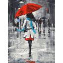 Цветовые акценты. Прогулка в дождь Раскраска картина по номерам на холсте EX6457