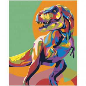 Радужный динозавр 80х100 Раскраска картина по номерам на холсте