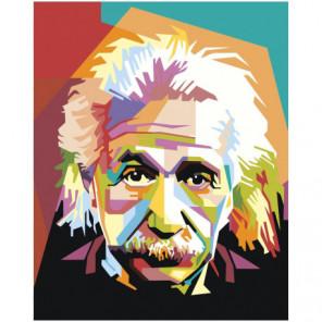 Радужный Альберт Эйнштейн Раскраска картина по номерам на холсте