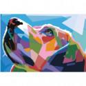 Радужная морда собаки Раскраска картина по номерам на холсте