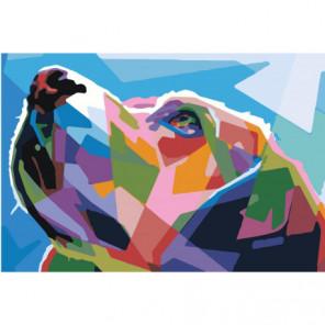 Радужная морда собаки 100х150 Раскраска картина по номерам на холсте