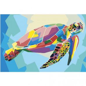 Радужная черепаха Раскраска картина по номерам на холсте