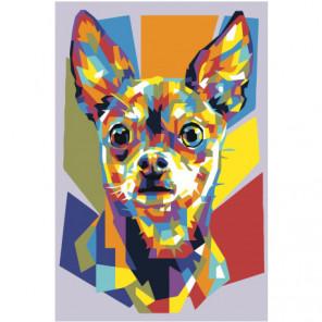 Радужная собака чихуахуа 80х120 Раскраска картина по номерам на холсте