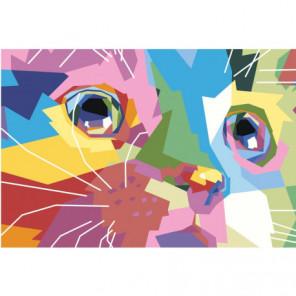 Радужная морда кота 100х150 Раскраска картина по номерам на холсте