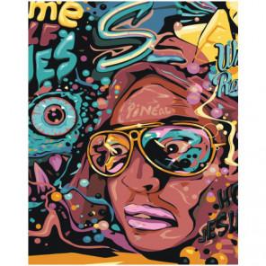 Лицо в очках 80х100 Раскраска картина по номерам на холсте