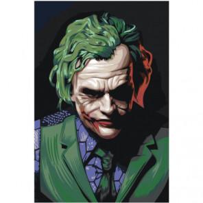 Джокер в зеленых тонах Раскраска картина по номерам на холсте