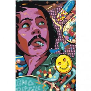 Лицо мужчины с сигаретой 80х120 Раскраска картина по номерам на холсте