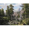 Пейзаж с водопадом Раскраска картина по номерам на холсте PKC76035