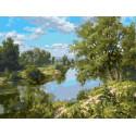 Пейзаж с рекой Раскраска картина по номерам на холсте PKC76030