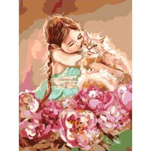 Мой милый рыжик. Девочка с котом Раскраска картина по номерам на холсте PKC76011