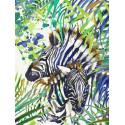 Зебра в тропиках Раскраска картина по номерам на холсте PKC76007