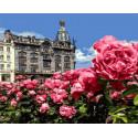 Сад розовых цветов около замка Раскраска картина по номерам на холсте GX34920