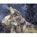 Волчий вой в зимнем ночном лесу Раскраска картина по номерам на холсте GX34918