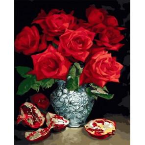 Красные розы в вазе около граната Раскраска картина по номерам на холсте GX34915