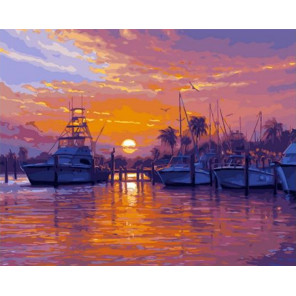 Тропическая бухта катеров Раскраска картина по номерам на холсте GX33139