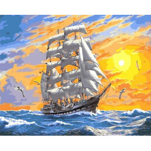 Море бушует на закате. Парусник Раскраска картина по номерам на холсте GX31778