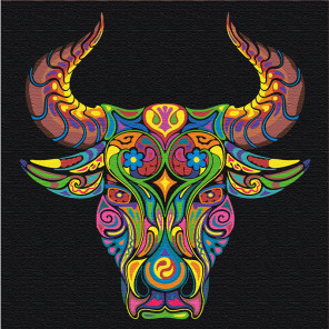 Восточный бык благополучия Раскраска картина по номерам на холсте с неоновыми красками AAAA-RS064-80x80