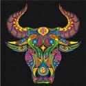 Восточный бык благополучия Раскраска картина по номерам на холсте с неоновыми красками AAAA-RS064-100x100