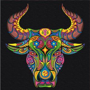 Пример в интерьере Восточный бык благополучия Раскраска картина по номерам на холсте с неоновыми красками AAAA-RS064