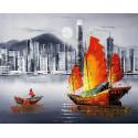 Ночной Гонконг Раскраска картина по номерам на холсте MG2164