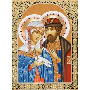 Икона Петр и Феврония Набор для выкладывания алмазной мозаики АЖ-1848
