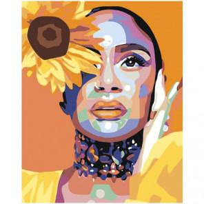 Девушка с желтым цветком 100х125 Раскраска картина по номерам на холсте