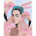 Девушка и розовые фламинго 80х100 Раскраска картина по номерам на холсте
