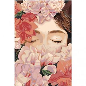 Девушка в розовых цветах Раскраска картина по номерам на холсте