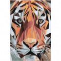 Геометрический тигр Раскраска картина по номерам на холсте