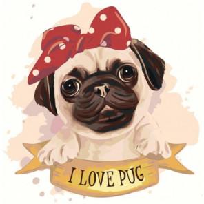 Мопс с бантиком I love pug 100х100 Раскраска картина по номерам на холсте