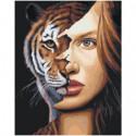 Девушка тигрица 80х100 Раскраска картина по номерам на холсте