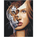 Девушка тигрица 100х125 Раскраска картина по номерам на холсте