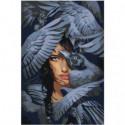 Девушка и крылья воронов 100х150 Раскраска картина по номерам на холсте