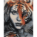 Девушка тигр единение 80х100 Раскраска картина по номерам на холсте