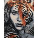 Девушка тигр единение 100х125 Раскраска картина по номерам на холсте