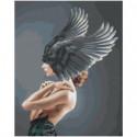 Девушка с темными крыльями на голове 80х100 Раскраска картина по номерам на холсте