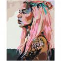 Девушка с татуировками и розовыми волосами Раскраска картина по номерам на холсте
