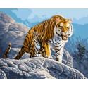 Тигр в горах Раскраска картина по номерам на холсте GX35036