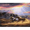 Лошади в лучах солнца Раскраска картина по номерам на холсте GX35207