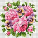 Розы и анютины глазки Алмазная вышивка мозаика без подрамника Белоснежка 458-ST-PS