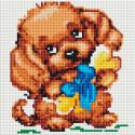 Собачка с подарком Алмазная вышивка мозаика без подрамника Белоснежка 466-ST-PS